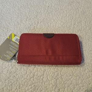 Travelon NWT red wine RFID wallet/wristlet